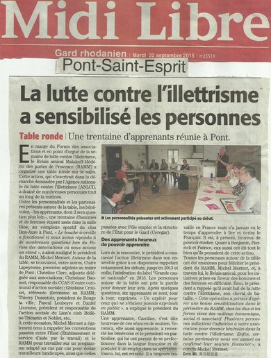 article Midi Libre du 22-09-2015